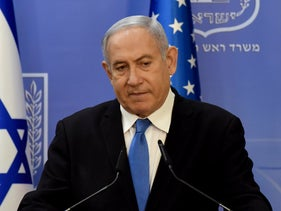 Benjamin Netanyahu speaks at a news conference in Jerusalem, August 24, 2020.