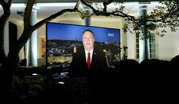 U.S. Secretary of State Mike Pompeo is seen giving his live address to the 2020 Republican National Convention from Israel on a monitor set up in the Rose Garden of the White House, August 25, 2020.