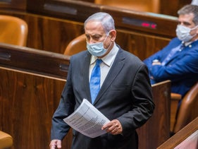 Prime Minister Benjamin Netanyahu in the Knesset for the vote on delaying the budget deadline, August 24, 2020.