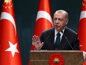 Turkish President Recep Tayyip Erdogan holds a press conference following the weekly cabinet meeting at the Presidential Complex in Ankara on August 24, 2020.