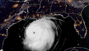This RAMMB/NOAA satellite image shows Hurricane Laura moving Northwestern in the Gulf of Mexico towards Louisiana at 11:40 UTC on August 26, 2020
