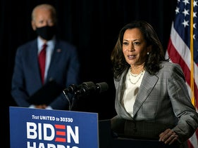 Kamala Harris and Joe Biden at the Hotel DuPont in Wilmington, Delaware, August 13, 2020.