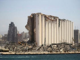 The severely damaged grain silo following the explosion in Beirut's port area, Lebanon, August 8, 2020.