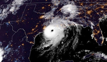 This RAMMB/NOAA satellite image shows Hurricane Laura reaching the coasts of Louisana and Texas on August 26, 2020 at 19H20 Pacific time
