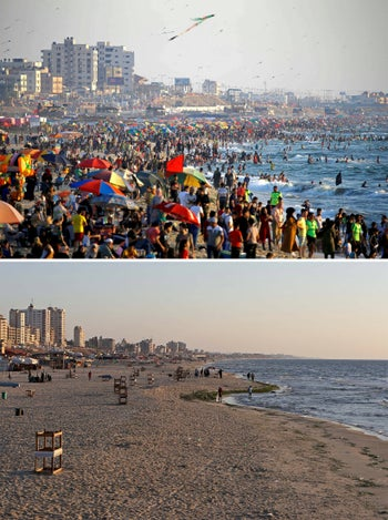 A combination picture shows Palestinians enjoying the beach on a hot day in Gaza City July 3, 2020, and the same beach during a lockdown on August 25, 2020. Picture taken July 3, 2020.