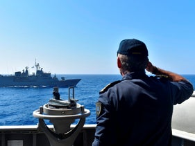 Greek warships take part in a military exercise in Eastern Mediterranean sea, Tuesday, Aug. 25, 2020.