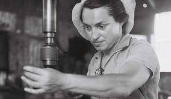 An immigrant from Poland working in the metal factory at Kibbutz Ma'abarot in the 1950s.