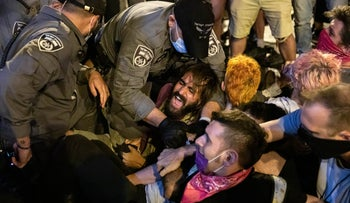 Police and protesters in Jerusalem on August 22, 2020.
