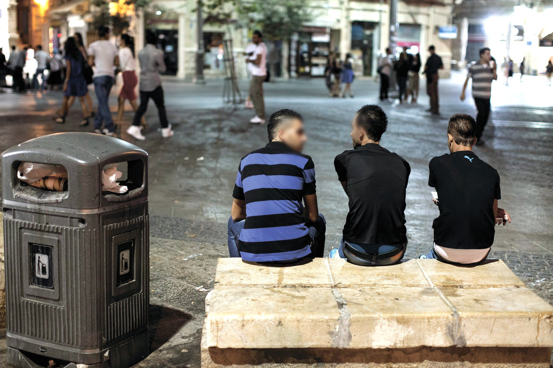 Young people in Jerusalem's Zion Square.