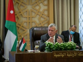 King Abdullah of Jordan at a conference with Egypt and Iraq in Amman, August 2020.