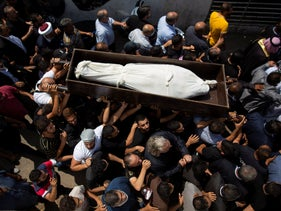 Funeral procession of Hassan Zaher Ghosn, 14, who was killed last night in clashes that broke out last night in Khaldeh, south of Beirut, Lebanon, August 28, 2020.