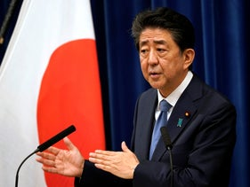 Shinzo Abe speaks during a press conference at the prime minister official residence in Tokyo, August 28, 2020.