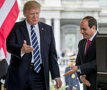 U.S. President Donald Trump greeting his Egyptian counterpart, Abdel-Fattah al-Sissi, at the White House, April 3, 2017.