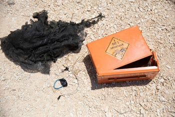 A box of explosives hidden by Israeli soldiers in the village of Qaddum, West Bank, August 25, 2020.