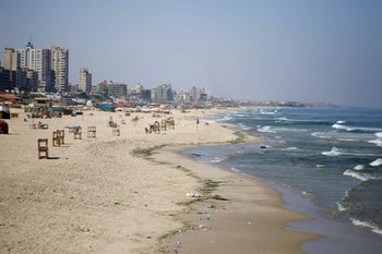 An empty beach amid the coronavirus lockdown in Gaza City, August 29, 2020.