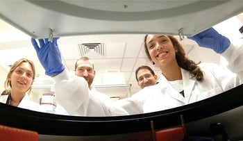 Young researchers in a lab at the Weizmann Institute of Science