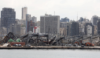A view of the damaged site following the explosion at Beirut port, in Beirut, Lebanon, August 26, 2020.