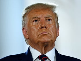 Donald Trump looks on after delivering his acceptance speech at the Republican National Convention on August 27, 2020.