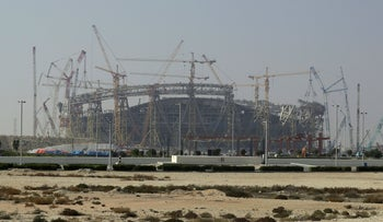 Construction underway at the Lusail Stadium, one of the 2022 World Cup stadiums, in Lusail, Qatar. December 20, 2019.