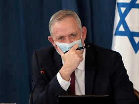 Benny Gantz at a weekly cabinet meeting at the Foreign Ministry in Jerusalem, July 5, 2020.