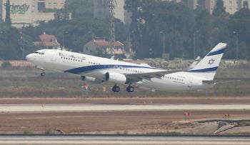El Al's airliner lifting off from the tarmac in the first-ever commercial flight from Israel to the UAE at the Ben Gurion Airport, August 31, 2020.
