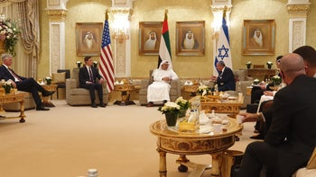 U.S. presidential adviser Jared Kushner, Emirati Foreign Minister Anwar Gargash, and Israeli National Security Adviser Meir Ben-Shabbat meet in Abu Dhabi on August 31, 2020.