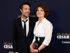French comedian Nicolas Bedos, left, with actress Fanny Ardant at the French film awards, February 2020.