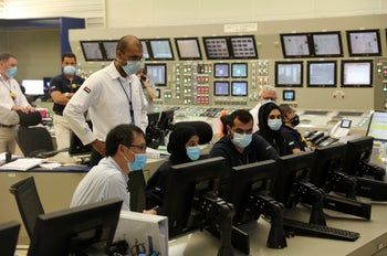 Control room at the Barakah Nuclear Power Plant in the UAE's far western desert, now connected to the country's power grid. Aug. 19, 2020