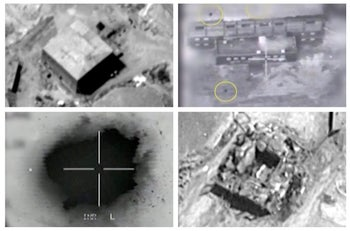 Screen grabs taken from Israeli military videos illustrating an Israeli air strike on a suspected Syrian nuclear reactor site near Deir al-Zor on Sept 6, 2007