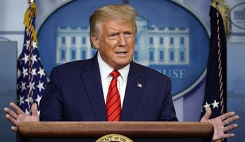 President Donald Trump speaks at a news conference in the James Brady Press Briefing Room at the White House, Washington, August 31, 2020.