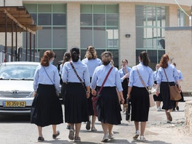 Students at a girls' school in Betar Illit, September 1, 2020.