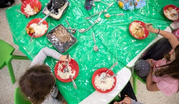 A school meal served on washable dishes at a school in Kibbutz Kramim, January 20, 2020.