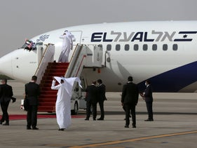 El Al plane carrying the Israeli delegation lands in Abu Dhabi, UAE, August 31, 2020.