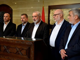 Hamas Chief Ismail Haniyeh (center) giving a press statement after meeting with the parliament speaker at the Ain el-Tineh palace in Beirut, Lebanon, September 2, 2020.