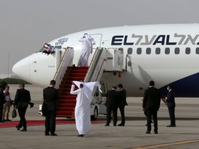 Israeli flag carrier El Al's airliner carrying Israeli and U.S. delegates lands at Abu Dhabi International Airport, in Abu Dhabi, United Arab Emirates, August 31, 2020.