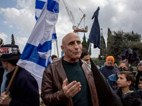 Ofer Shelah during an anti-Netanyahu protest in front of the Knesset, Jerusalem, March 19, 2020.