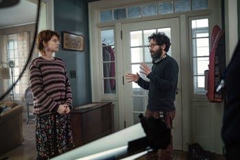 """Jessie Buckley and Charlie Kaufman on the set of """"I'm Thinking of Ending Things."""""""