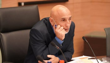 Ofer Shelah at the coronavirus committee at the Knesset in Jerusalem, May 14, 2020.
