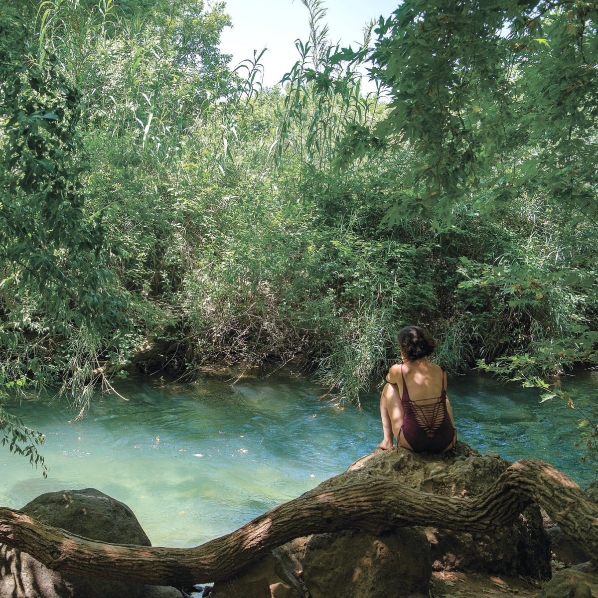 A woman in a bathing suit sits along on the shore of a stream at the Banias nature reserve.