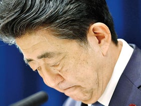 Prime Minister Abe announces his resignation, on August 28, 2020.