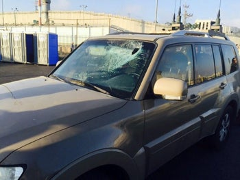 The car that Shomer was in when it was hit with a stone, after which he shot and killed the Palestinian who thew the stone in Al-Ram, July 2015.