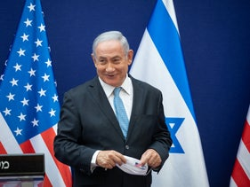 Prime Minister Benjamin Netanyahu makes statements to the press about the Israel-UAE deal, in Jerusalem, August 30, 2020.