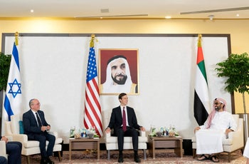 Israeli National Security Advisor Meir Ben-Shabbat, Jared Kushner and UAE's National Security Adviser Sheikh Tahnoun bin Zayed Al Nahyan hold a meeting in Abu Dhabi, August 31, 2020.