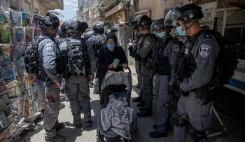 Border policemen in Jerusalem's Mea Shearim neighborhood, August 31, 2020