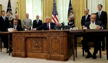 U.S. President Donald Trump speaks hosts a signing ceremony with Serbia's President Aleksandar Vucic and Kosovo's Prime Minister Avdullah Hoti at the White House in Washington, U.S., September 4, 2020.