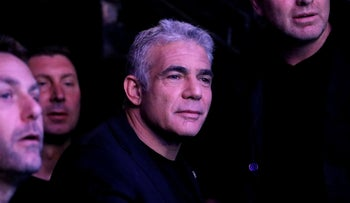 Yair Lapid attends an election campaign event in Tel Aviv, September 15, 2019.