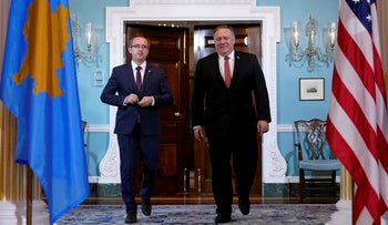 U.S. Secretary of State Mike Pompeo walks with Kosovo's Prime Minister Avdullah Hoti at the State Department in Washington, D.C., U.S., September 4, 2020