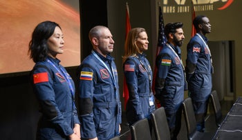 """The five crew members in Netflix's soapy space drama """"Away."""""""