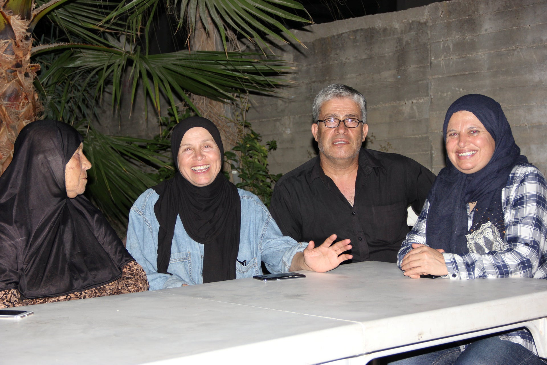 Members of the Tamami family at their home in Nebi Saleh,(from the left) Halima, her daughter Nowal, son Bilal and his wife, Manal.