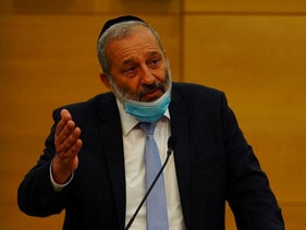 Shas leader Arye Dery in the Knesset, July 7, 2020.